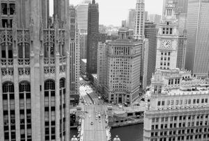 USA, IL, Chicago, Loop from Hotel Inter-Continental. Tribune Tower and Wrigley Building