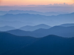 USA, North Carolina, Great Smoky Mountains, Dusk from the Blue Ridge Parkway