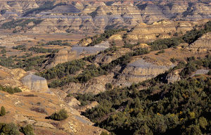 USA, North Dakota, Theodore Roosevelt National Park, View from Bentonitic Clay Overlook