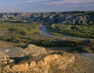 USA, North Dakota, Theodore Roosevelt National Park, Evening light on Valley of the