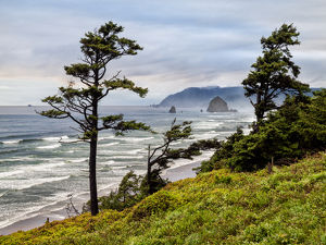 USA, Oregon, Cannon Beach, View of Haystack Rock