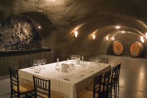 USA, Oregon, Dundee. Dining room in Archery Summit Winery