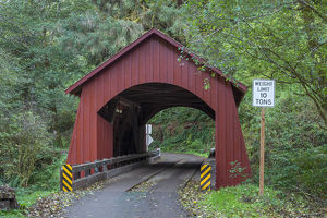 USA, Oregon, Siuslaw National Forest, North Fork Yachats Bridge, built in 1938, spans