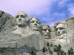 USA, South Dakota. View of Mount Rushmore National Monument presidential faces carved