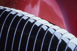 USA, Washington, Everett. Front grill detail of red, custom-built (in 1941) auto