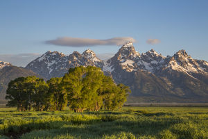 USA, Wyoming, Grand Teton National Park, a small cloud hits the top of the Grand