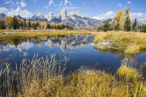 USA, Wyoming, Grand Teton National Park, the Grand Teton Mountains are reflected