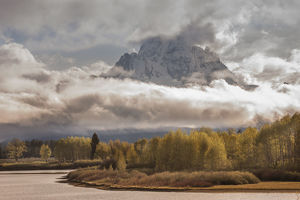 USA, Wyoming, Grand Teton National Park. Rainstorm over Mt