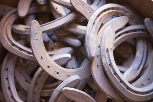USA, Wyoming, Shell, The Hideout Ranch, A Pile of Horseshoes (MR/PR)