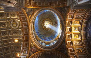 europe/italy/vatican inside small dome shaft light ceiling
