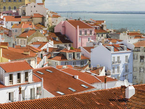 View over the sea of houses of the Alfama, the old town dating back to moorish times