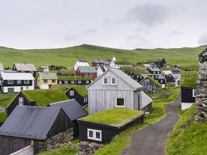 The village on the island Mykines, part of the Faroe Islands in the North Atlantic