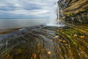 Waterfall on Miners Beach, Lake Superior, Pictured Rocks National Lakeshore, Upper