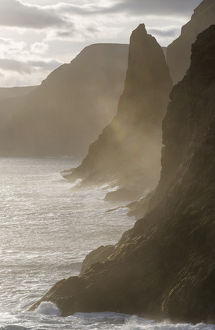The west coast near Traelanipa. The island Vagar, part of the Faroe Islands in the